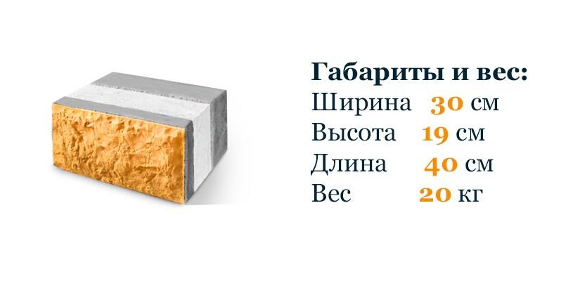 Трехслойный теплоблок 30х19х40 см